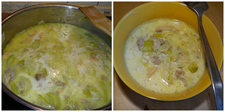 Hackfleisch-lauch-käse-suppe